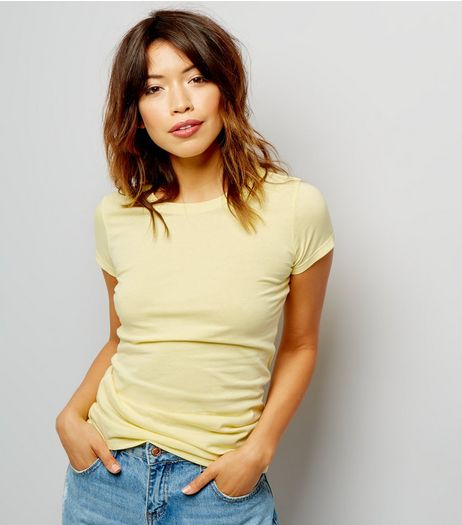 Pastel Yellow Fitted T-Shirt | New Look