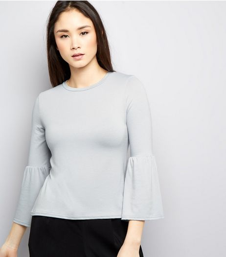 Pale Grey Jersey Bell Sleeve Top | New Look