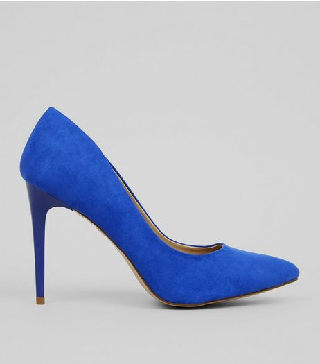 Blue Suedette Pointed Court Shoes | New Look