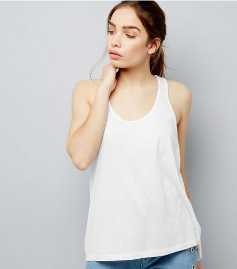 White Racer Back Vest | New Look