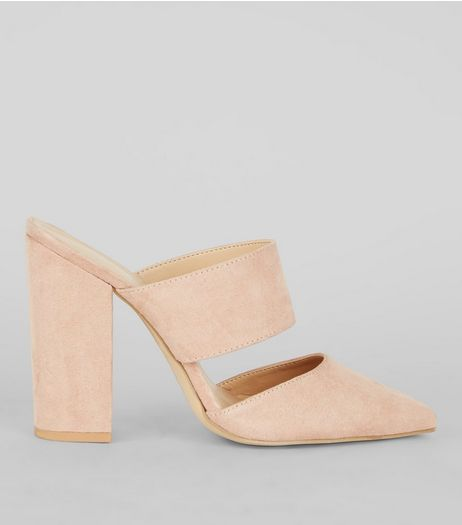 Nude Pink Suedette Double Strap Pointed Mules | New Look
