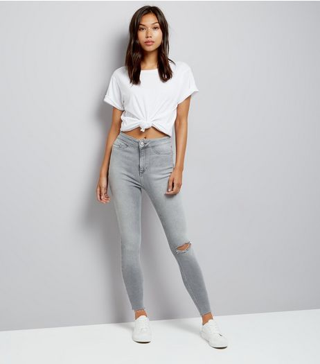 Tall Pale Grey Ripped High Waisted Hallie Jeans  | New Look