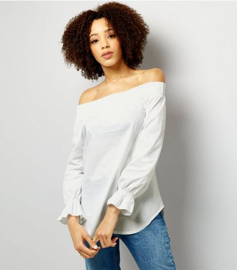 Loving This White Cuffed Bardot Neck Top  | New Look
