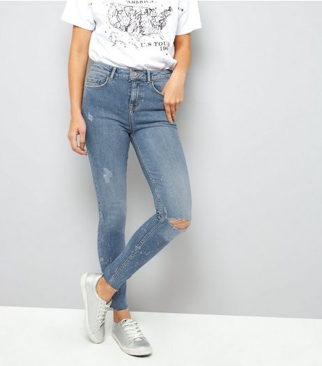Tall Blue Metallic Print Skinny Jeans | New Look