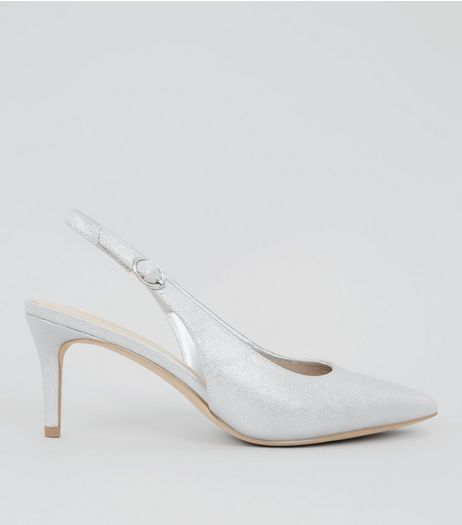 Silver Shimmer Sling Back Heels | New Look