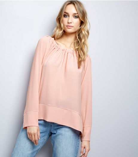 Loving This Pink Gathered Bardot Top | New Look
