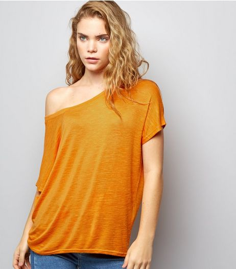 Orange Off the Shoulder T-Shirt | New Look