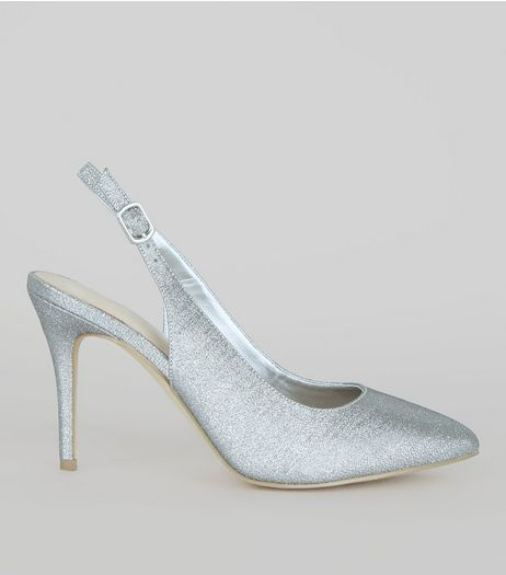 Silver Comfort Glitter Pointed Sling Back Heels | New Look