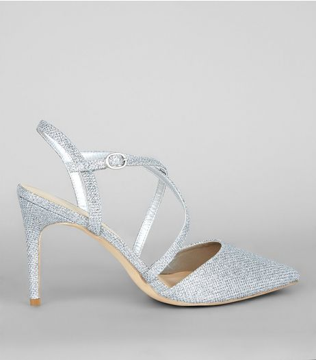 Silver Glitter Pointed Cross Strap Heels | New Look