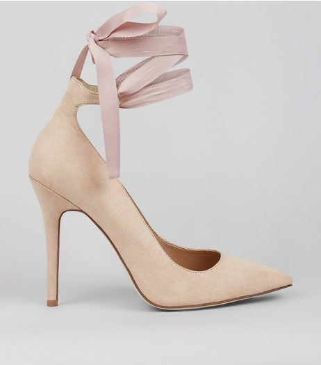 Nude Pink Suedette Tie Up Court Shoes | New Look