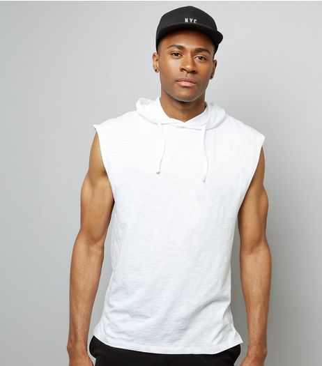 White Sleeveless Hoodie | New Look