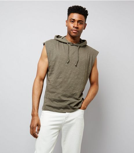Khaki Sleeveless Hoodie | New Look