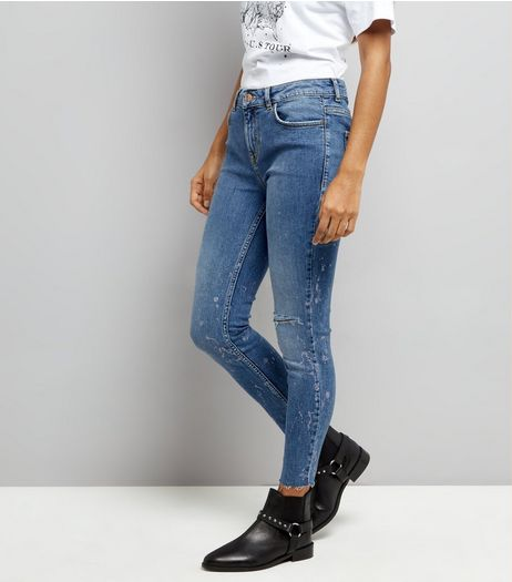Petite Blue Metallic Print Skinny Jeans | New Look