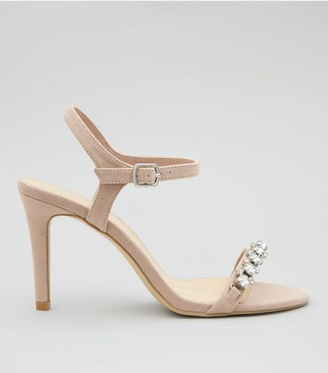 Wide Fit Nude Pink Gem Stone Strap Heeled Sandals | New Look