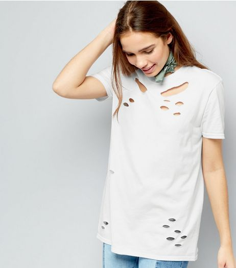 Cameo Rose White Ripped T-Shirt | New Look
