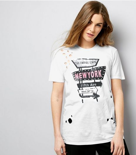 Cameo Rose White Ripped New York Print T-Shirt | New Look
