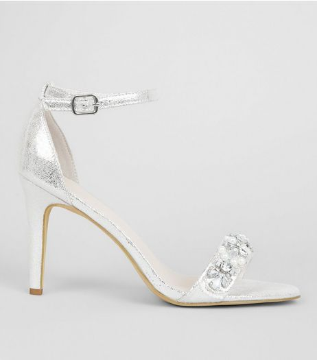 Silver Metallic Embellished Strap Heeled Sandals | New Look