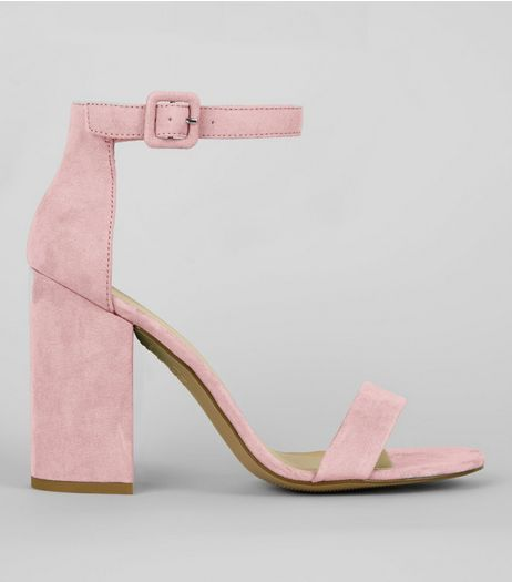 Pale Pink Ankle Strap Block Heels | New Look