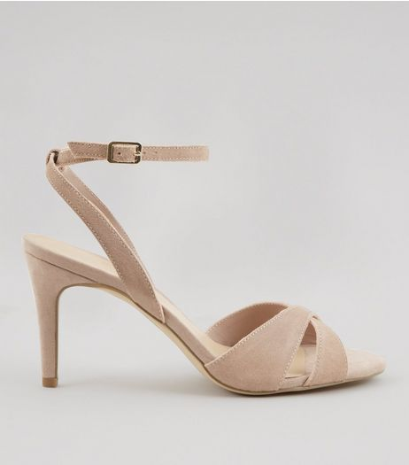 Nude Suede Cross Front Ankle Strap Heels | New Look