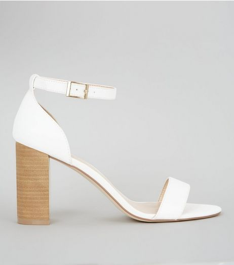 White Ankle Strap Heeled Sandals | New Look