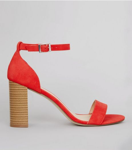 Red Ankle Strap Heeled Sandals | New Look