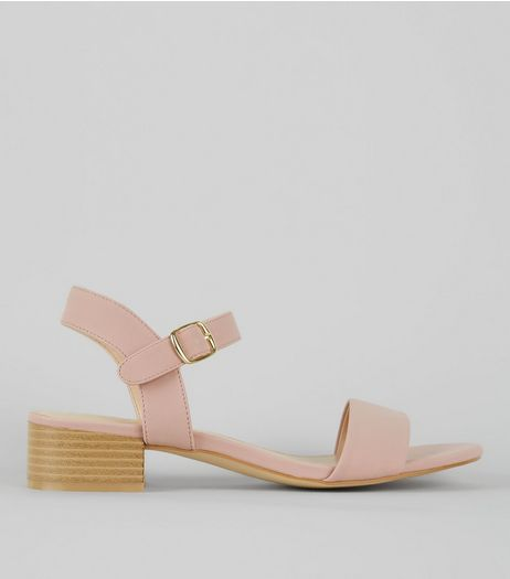 Pink Ankle Strap Low Block Heel Sandals | New Look