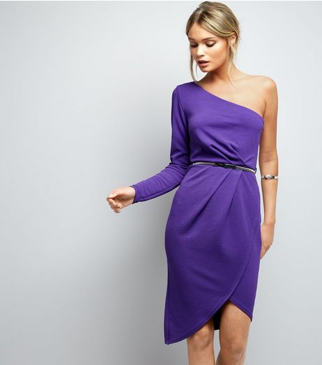 Purple Off the Shoulder Wrap Front Belted Bodycon Dress  | New Look