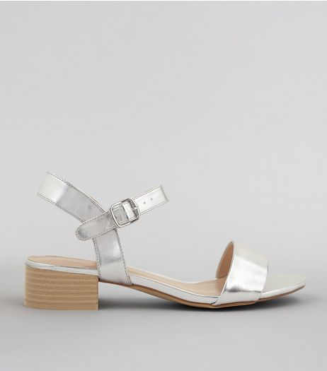 Silver Metalic Open Toe Block Heel Sandals  | New Look