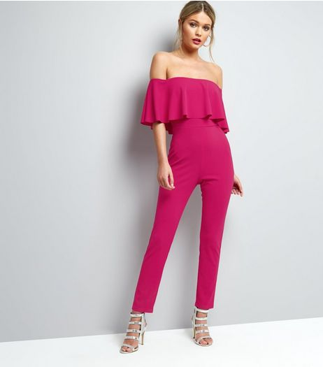 Bright Pink Frill Trim Bardot Neck Jumpsuit  | New Look
