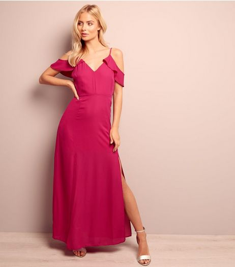 Bright Pink Cold Shoulder Split Side Maxi Dress  | New Look