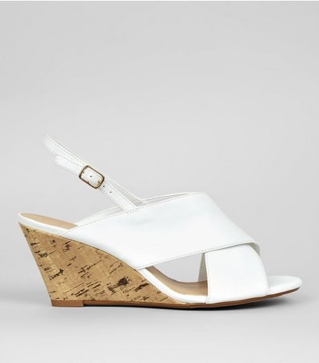 Wide Fit White Cork Wedge Heels | New Look