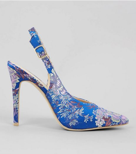Blue Floral Brocade Slingback Heels | New Look
