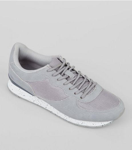 Grey Mesh Panel Trainers | New Look