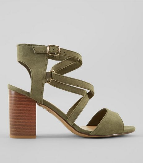 Wide Fit Khaki Suedette Cross Strap Heeled Sandals | New Look