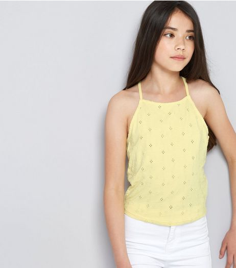 Teens Yellow Broderie High Neck Cami | New Look