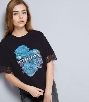 Teens Black Salt Lake City Lace Trim Rock T-Shirt