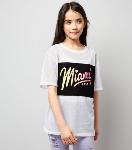 Teens White Mesh Miami Nights Applique T-Shirt  | New Look