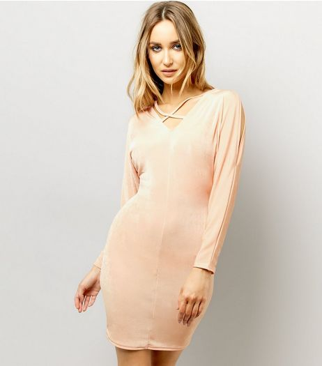 Shell Pink Batwing Sleeve Cross Strap Front Bodycon Dress | New Look