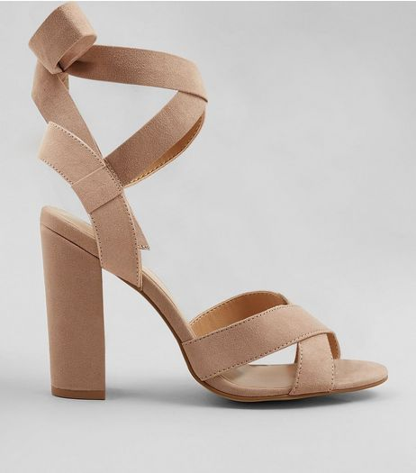 Wide Fit Nude Suedette Ankle Tie Heeled Sandals | New Look
