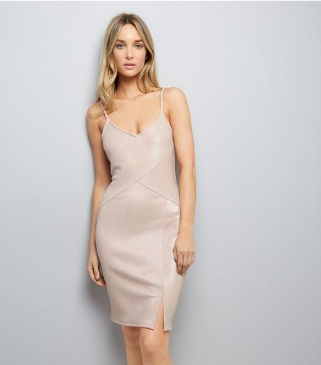 Shell Pink Metallic Panelled Bodycon Dress | New Look