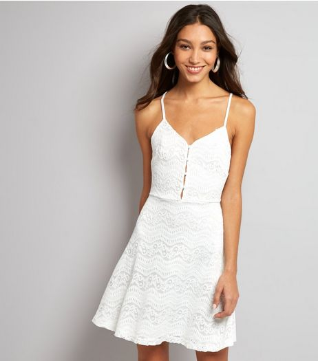 White Lace Button Front Skater Dress | New Look