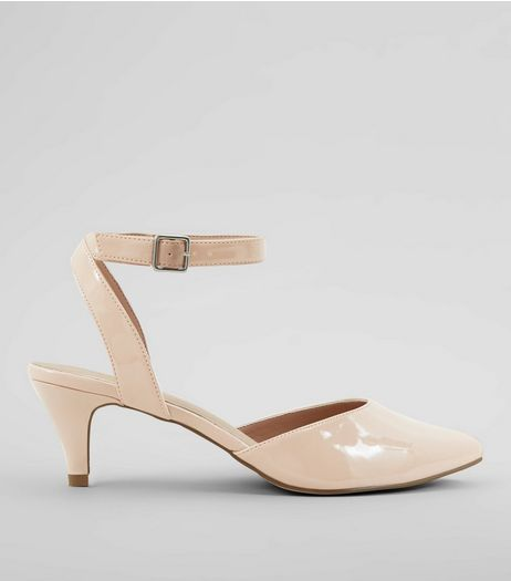 Wide Fit Nude Pink Comfort Patent Kitten Heels | New Look