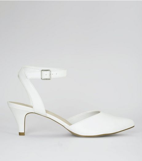 Wide Fit White Comfort Pointed Kitten Heels | New Look