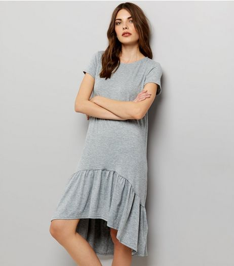 Grey Short Sleeve Drop Hem Dress  | New Look