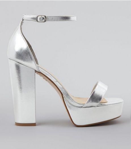 Wide Fit Silver Metallic Platform Heels | New Look
