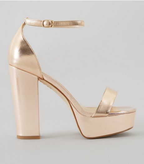 Wide Fit Rose Gold Metallic Platform Heels | New Look