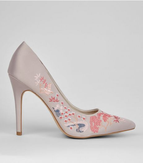 Wide Fit Grey Satin Embroidered Pointed Court Shoes | New Look