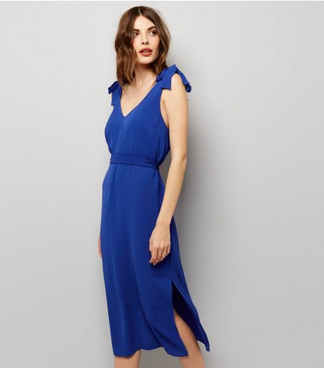 Blue V Neck Tie Strap Split Side Midi Slip Dress  | New Look