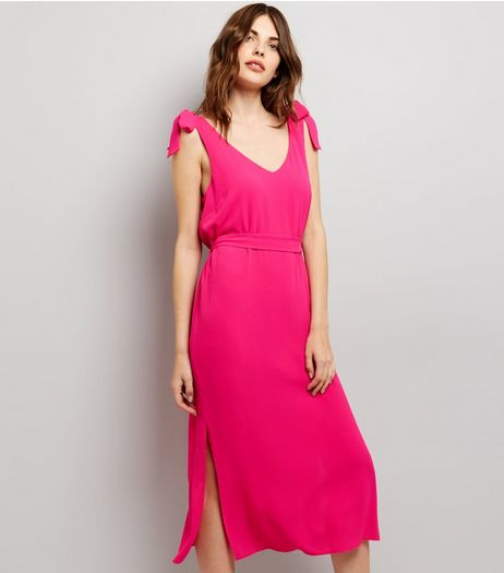 Bright Pink Tie Strap Midi Slip Dress  | New Look