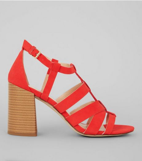 Red Gladiator Heeled Sandals | New Look